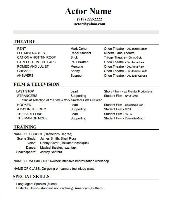 actor resume format acting resume template daily actor 10 acting dance resume examples