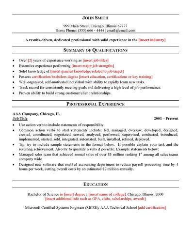 General Resume Example Career Center General Resume Sample