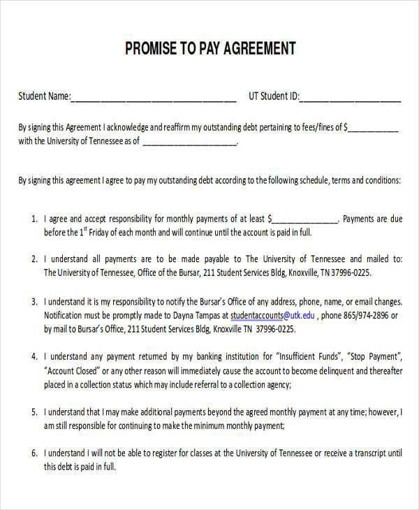 Promise To Pay Contract Template Payment Agreement Form Sample - payment agreement contract