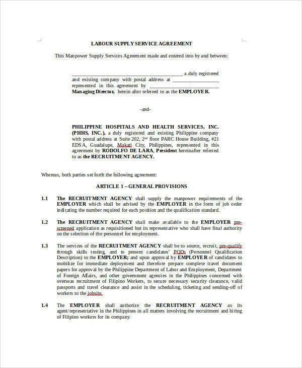 Sample Supply Agreement Supply Agreement Template Sample Form - job agreement contract