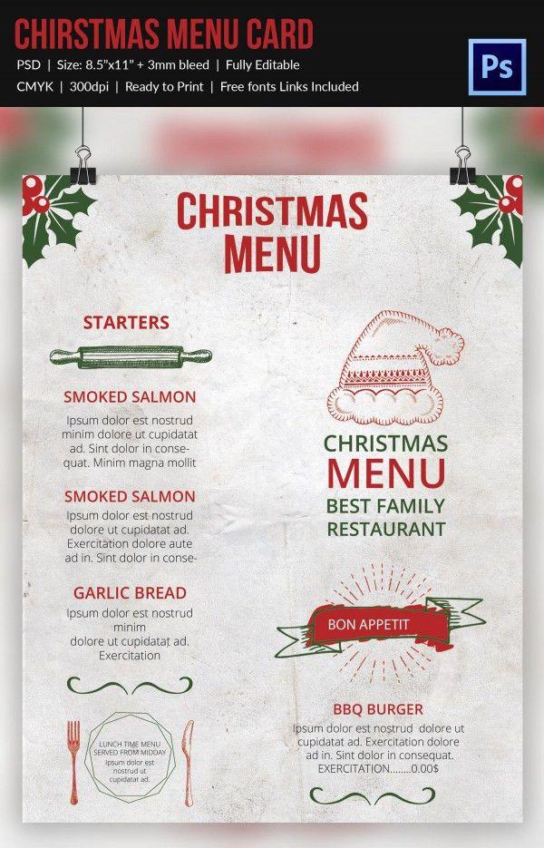 Free Christmas Dinner Menu Template Free Printable Holiday Dinner - sample menu template
