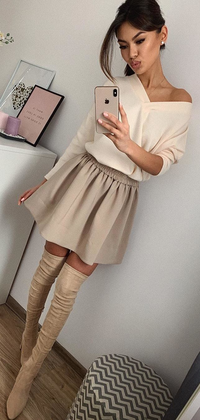 beige V-neck long-sleeved mini dress #spring #outfits