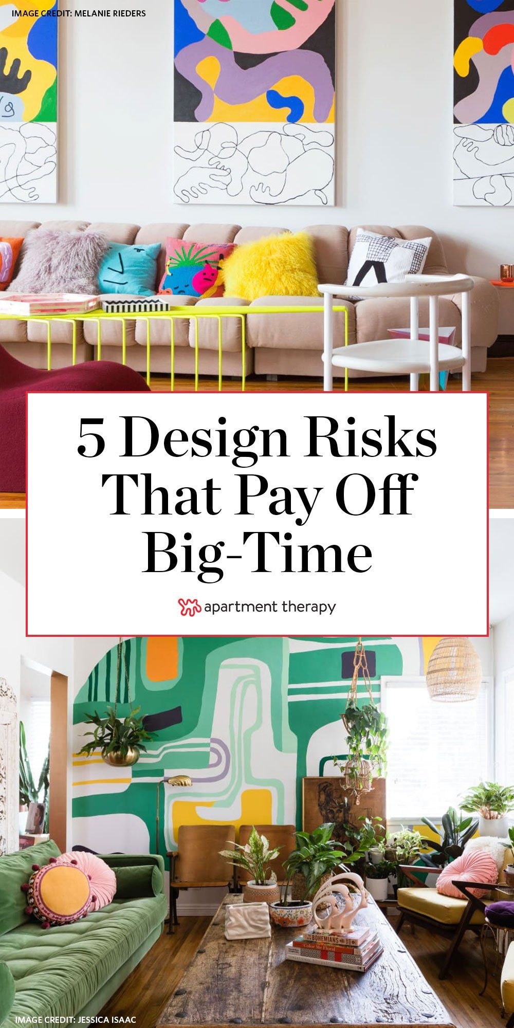 Whether with color, pattern, shape, or something else, here are five design risks that always pay off big time.  #designideas #designtrends #decortrends #colorfuldecor #maximalistdecor #livingroomideas #decorideas