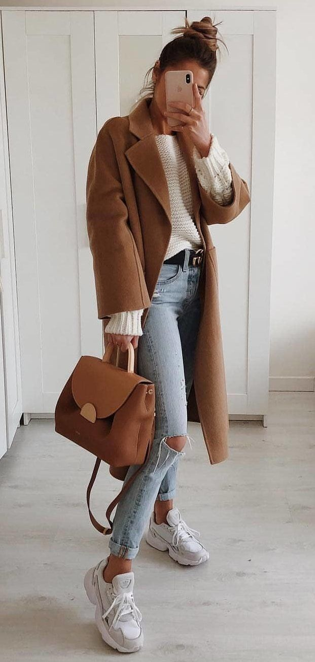 brown leather coat #spring #outfits