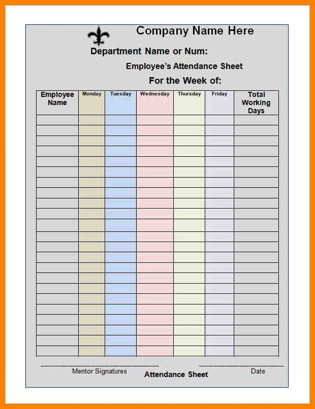 Attendance Spreadsheet Template Excel Monthly Attendance - attendance spreadsheet template excel