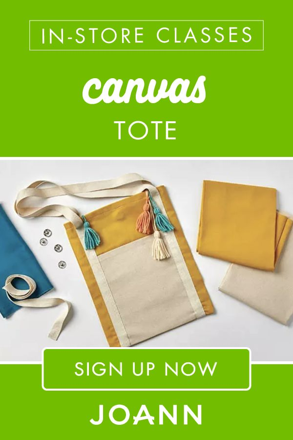 If you have a child that loves to craft, then this My Canvas Tote in-store class at JOANN is perfect! Kids will learn to work with canvas & cotton fabric, add a lining & handles to a project and sew a snap closure. Click here to sign up now!
