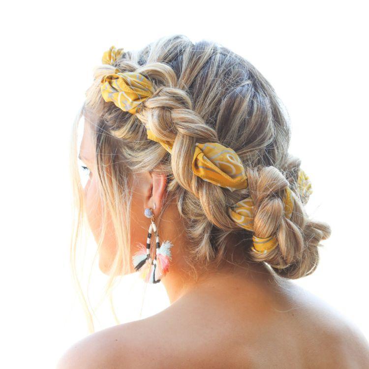Double Dutch French Braids with Silk Hair Scarf