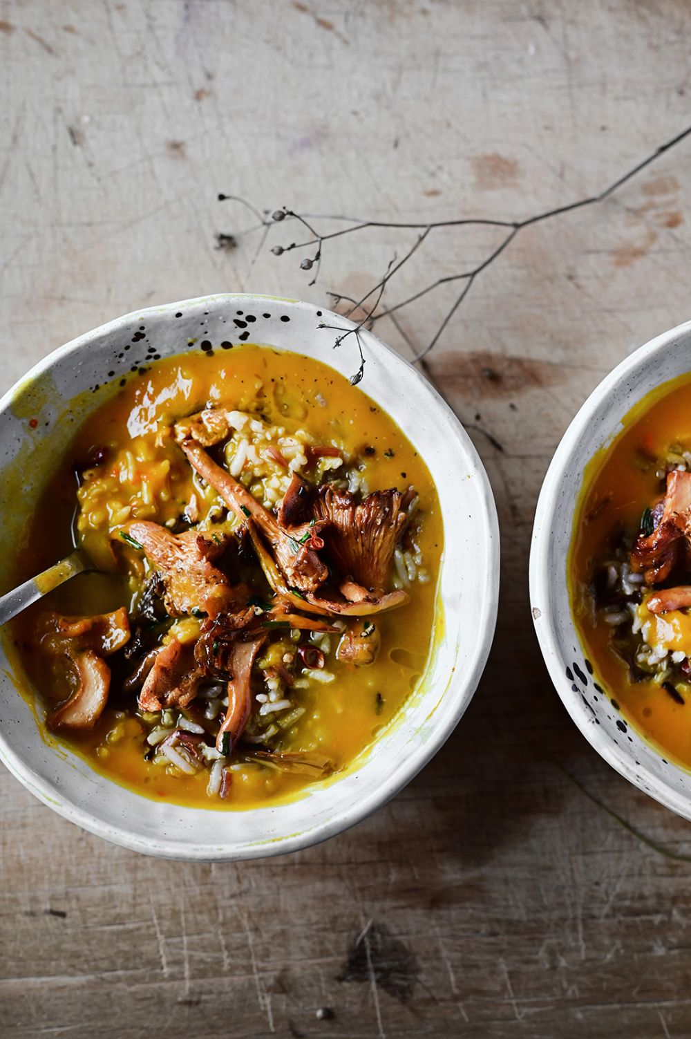 Roasted pumpkin soup with wild rice and miso mushrooms