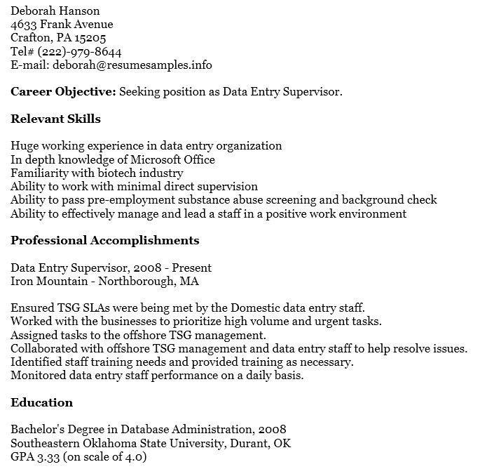 data entry supervisor resume data entry supervisor resume data entry officer sample resume - Data Officer Sample Resume