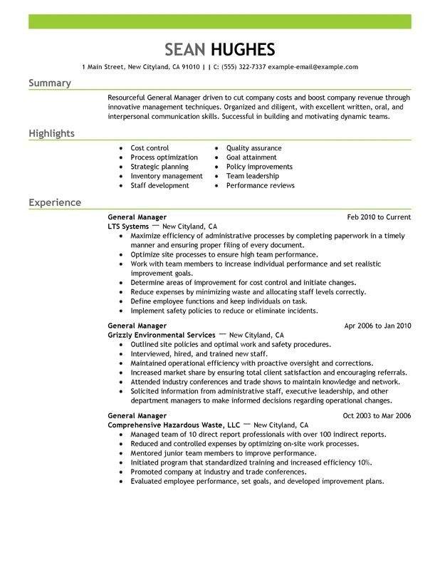 sample hotel general manager resume