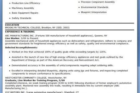 100 Mechanical Assembler Resume