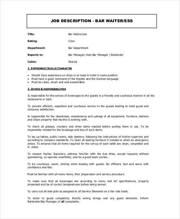 resume server description server job description for resume - Sandwich Maker Resume