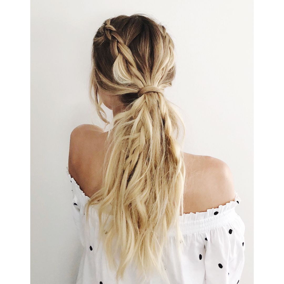 Hair tutorial: braided ponytail, Dutch braids