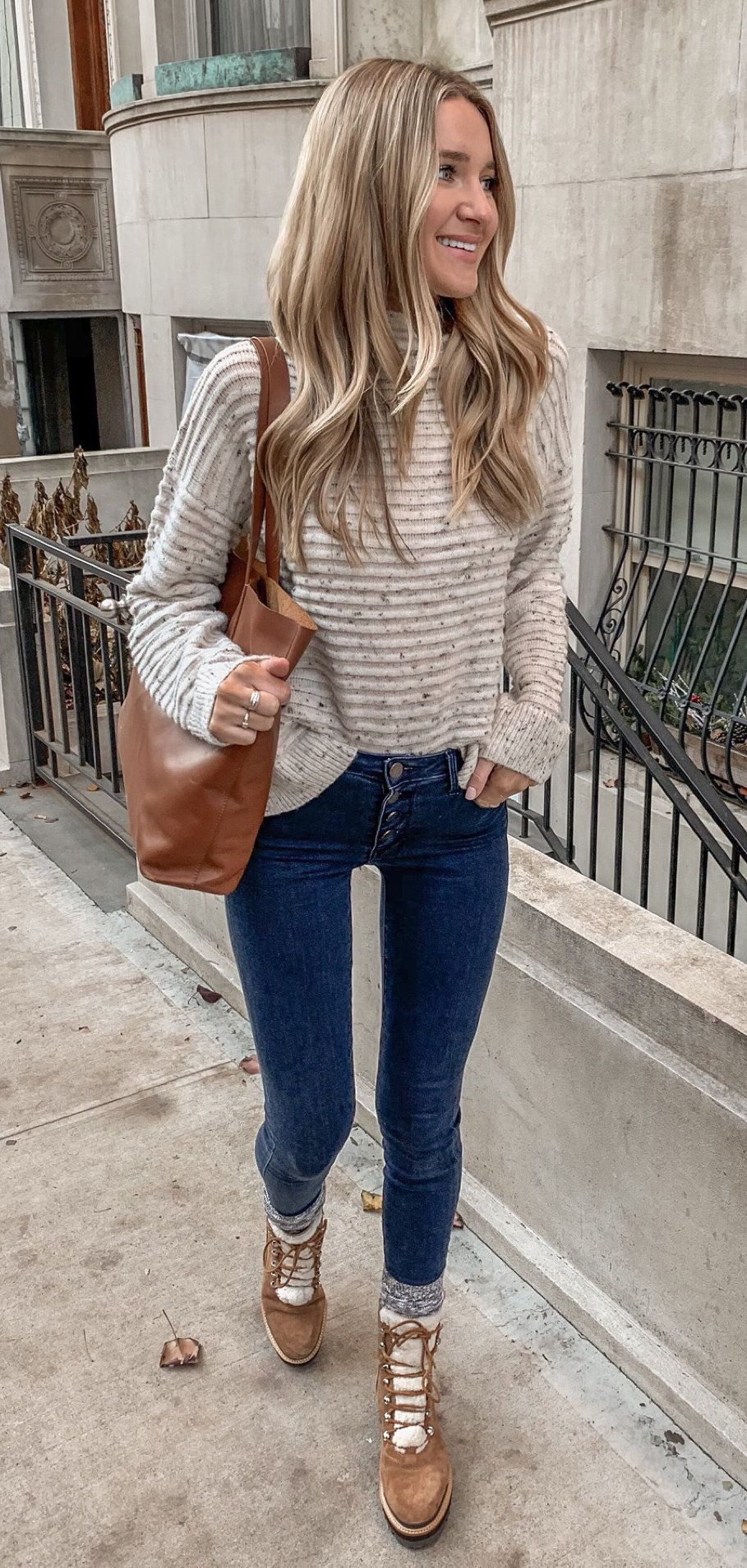 gray and white stripe sweater #winter #outfits