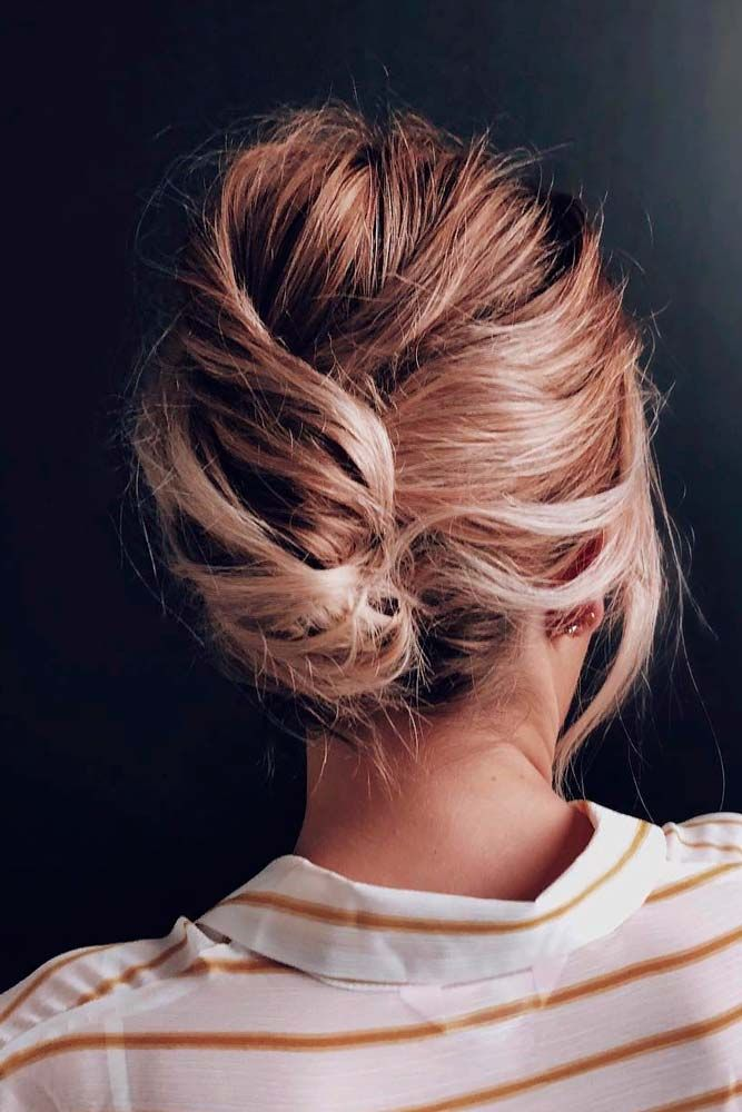 Messy Shell Bun #bunhairstyles #messyhairstyles ★ Cute and easy shoulder length hairstyles for thin and for thick hair can be found here. These styles can work for adult women and for teens. #glaminati #lifestyle #shoulderlengthhairstyles