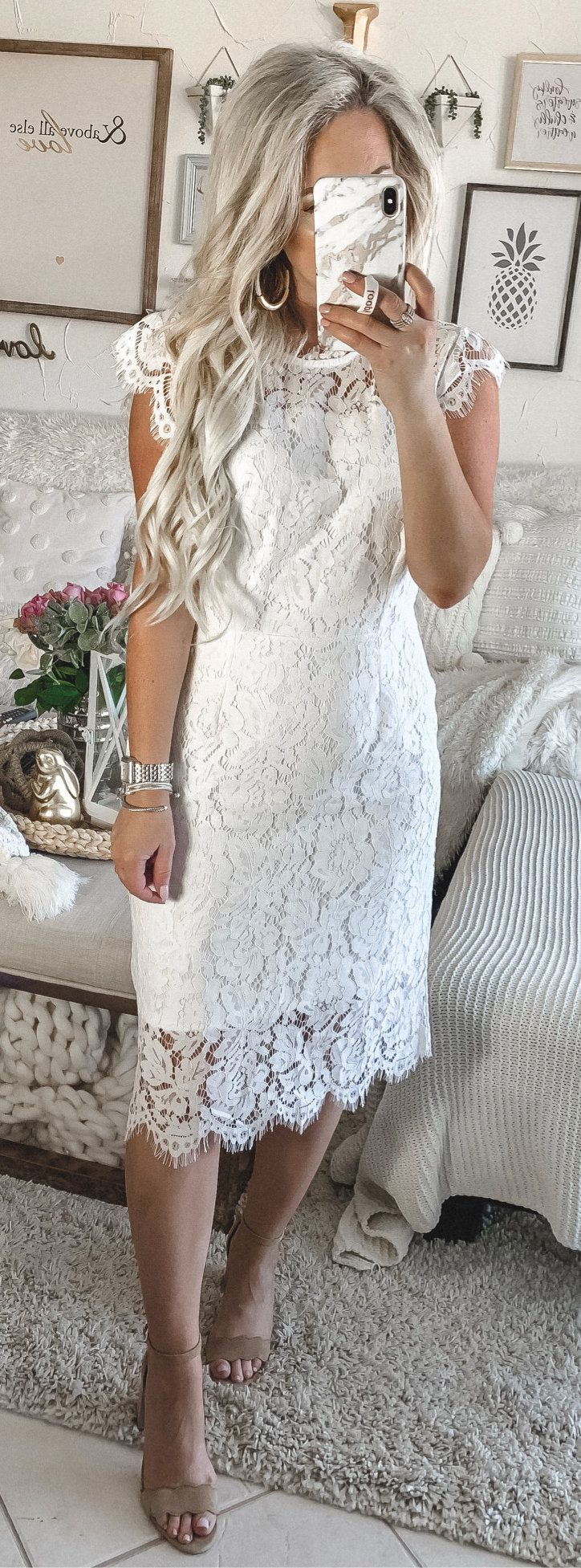 white lace sleeveless dress #spring #outfits
