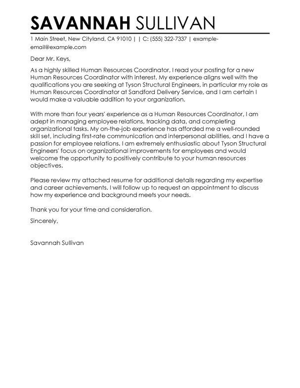 hr generalist cover letter sample