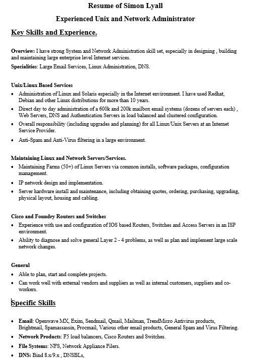 Kronos Systems Administrator Resume Download Linux System - linux administrator resume