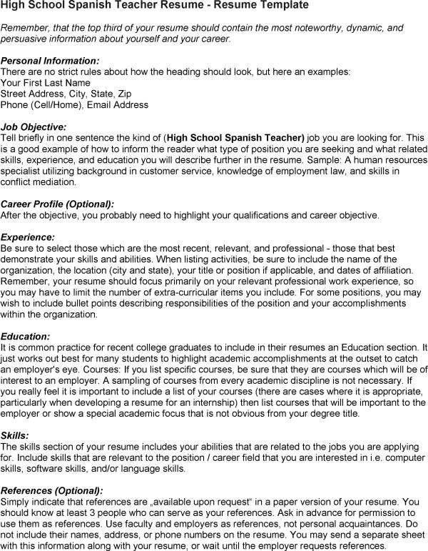 Spanish Teacher Job Description Spanish Teacher Job Description - spanish resume template
