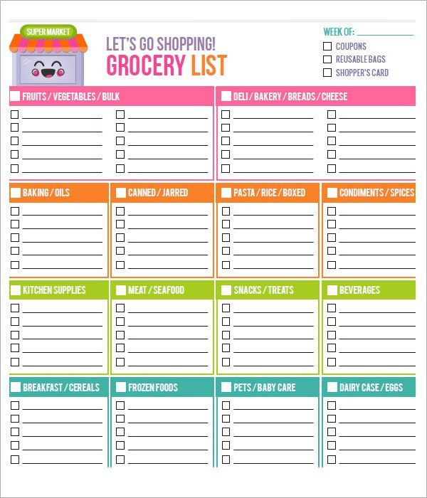 Sample Grocery List Template Sample Grocery List Template 9 Free - sample shopping list