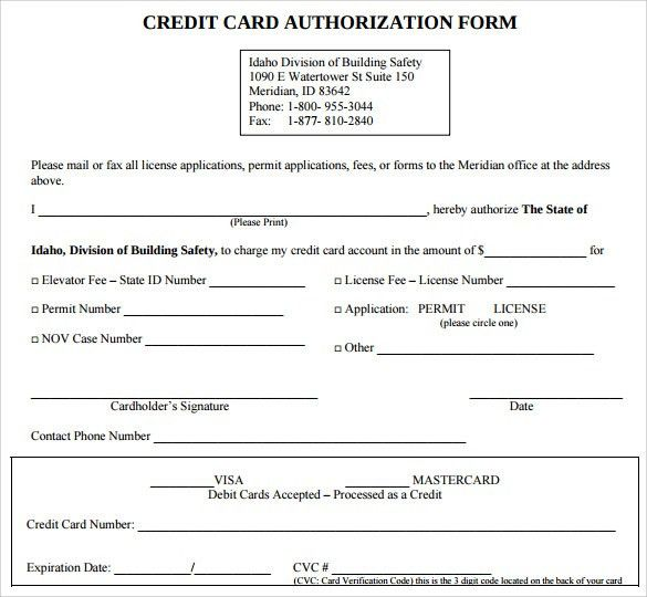 Credit Card Release Form Authorization For Credit Card Use Free   Sample  Credit Card Authorization Form