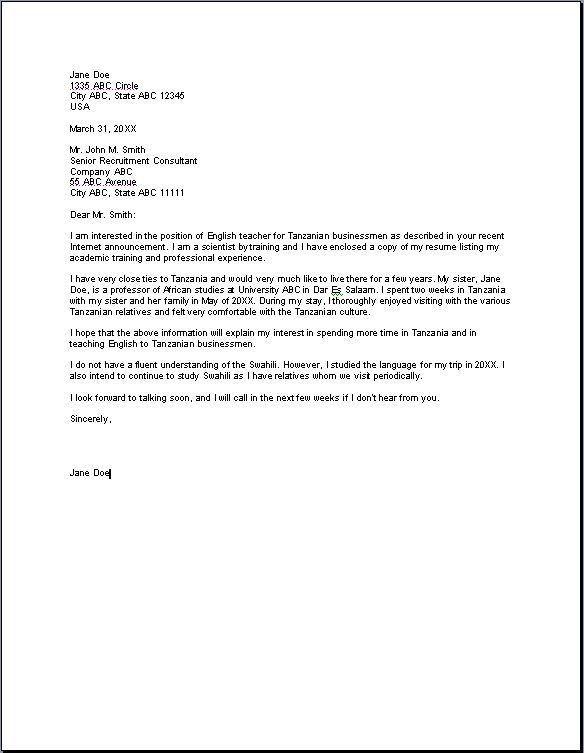 Spanish teacher cover letter