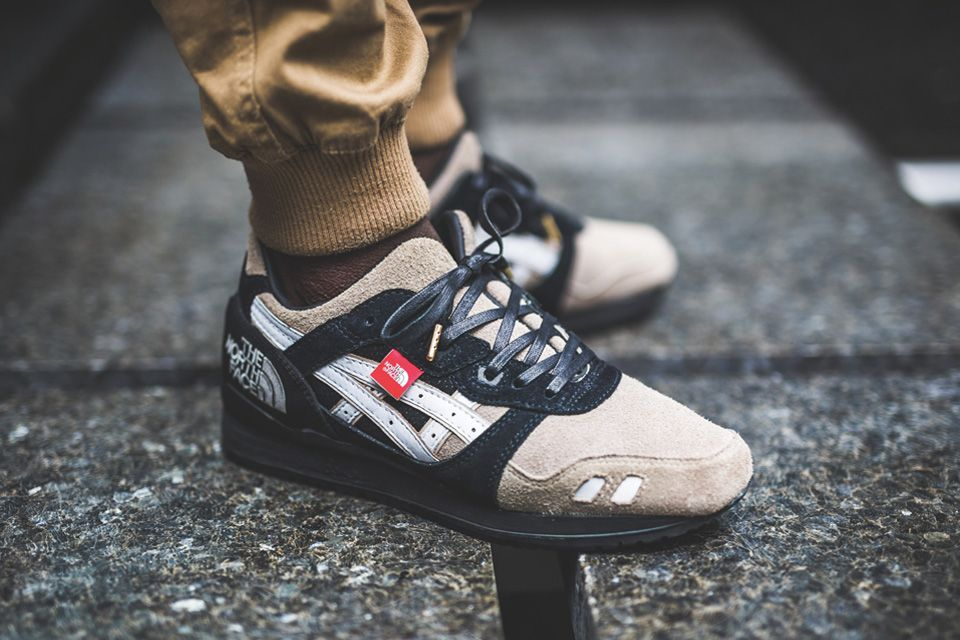 The North Face x ASICS Gel Lyte III Custom is built with calfskin toe box, lamb leather accents, while a The North Face GORE-TEX jacket on the heel