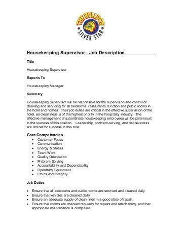 housekeeping job duties