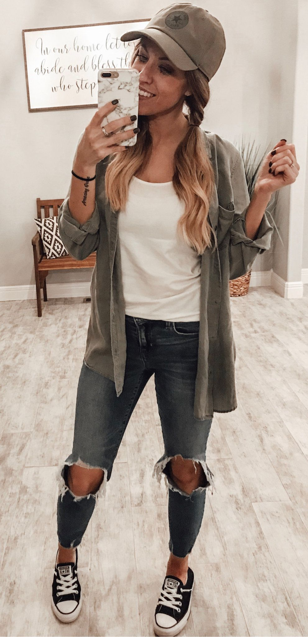 gray jacket and distressed jeans #summer #outfits