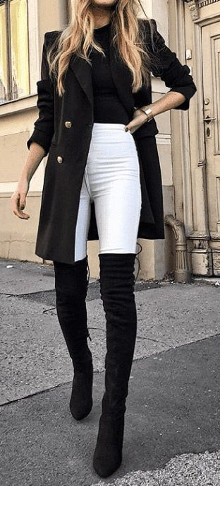 Cool black look with white pants