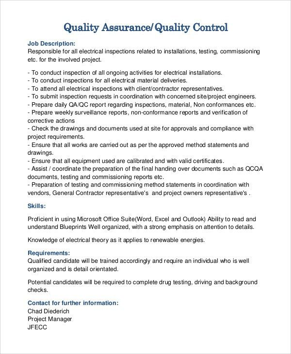 Quality Assurance Technician Job Description Quality Assurance - quality control job description