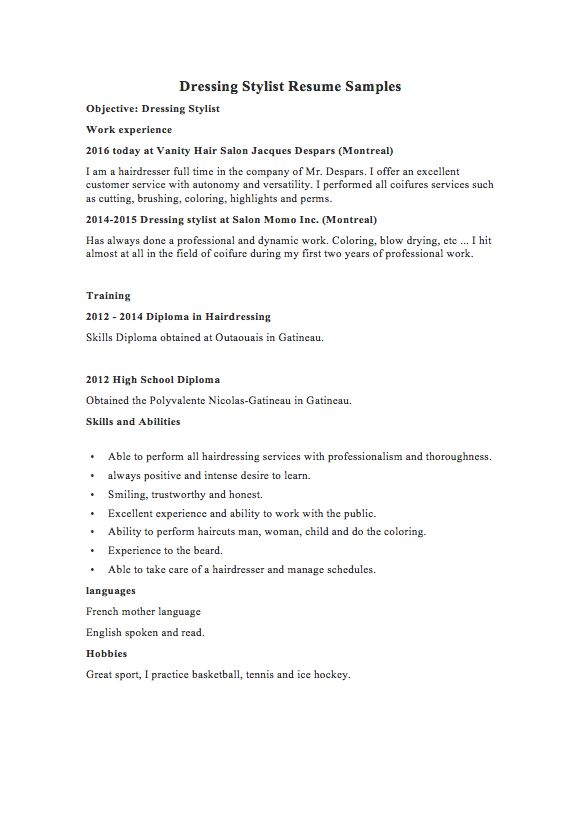 Barber Resume Example  Examples Of Resumes