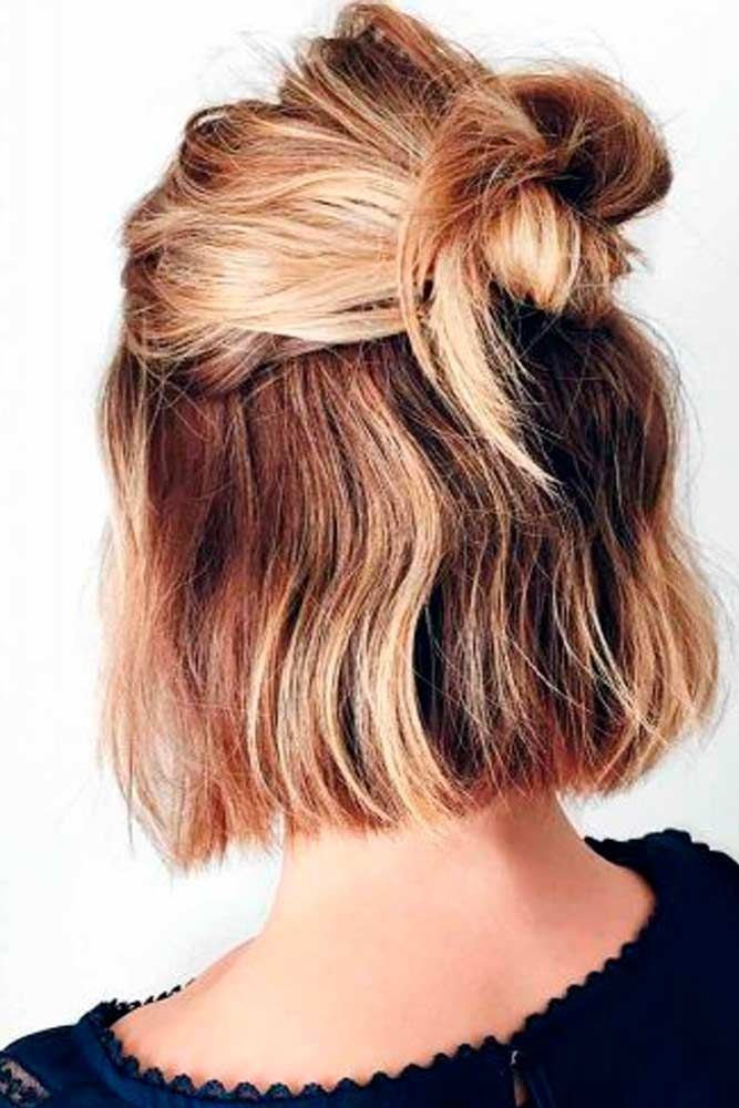 Messy Half Bun #halfbunhair #ombrehair ★ Short hairstyles for women have caused a lot of stir in 2019. Want to know what they are? You can find all of them in our exclusive photo gallery, which includes a layered bob, a messy pixie cut, cute Dutch braids and many more.  #glaminati #lifestyle #shorthairstyles
