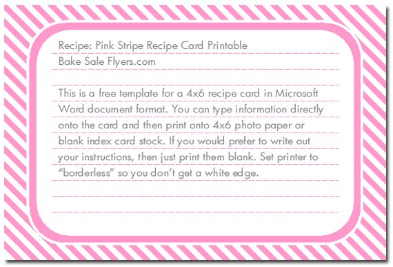 Free Recipe Card Template For Word Free Printable Recipe Card - free recipe card templates for microsoft word