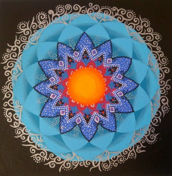 Iternal Sun - Mandala Art Print from original painting Mandala is a meditative and intuitive painting, starts from a point in the center (Bindo) and keep develop in circles.... The Mandala reflect the creators mood and brings harmony, and therapy, to the observer as well. If you attracted to a