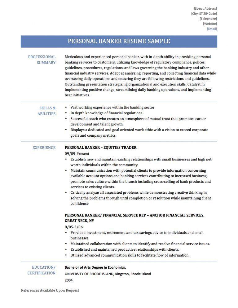 resume for banker