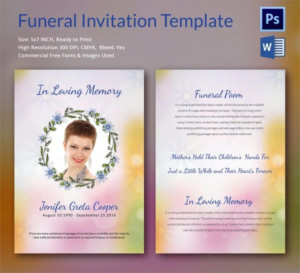Free Funeral Invitation Template  LondaBritishcollegeCo