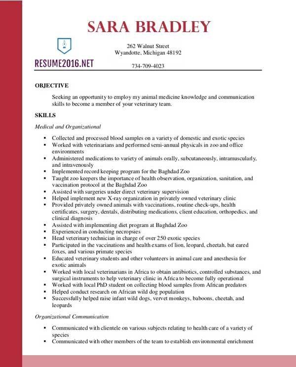 Veterinary Technician Resume Objective Download Veterinary