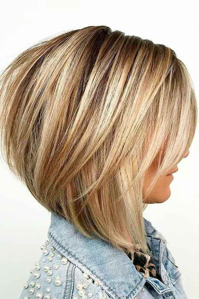 Wispy Angled Bob With Rounded Back