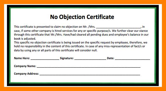 format of no objection certificate from employer samplescsat - no objection format