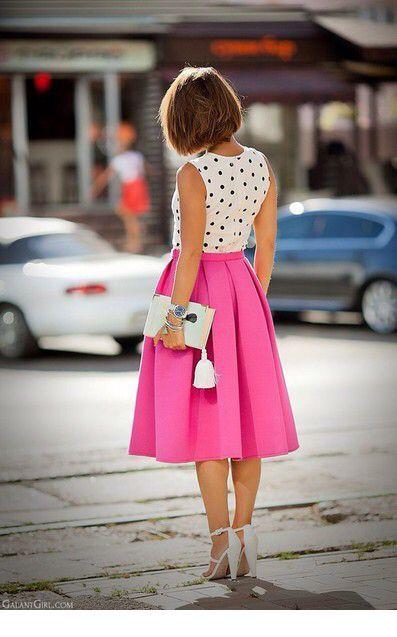 Polka dot top and pink midi skirt
