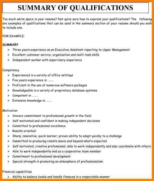 Summary Of Qualifications Resume Example - Examples Of Resumes