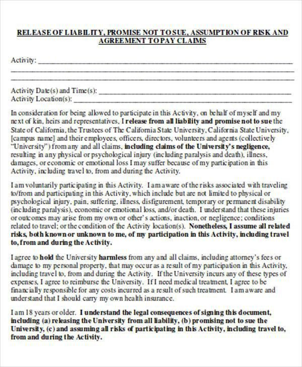 general release of liability form template node2003-cvresume - general release of liability form template
