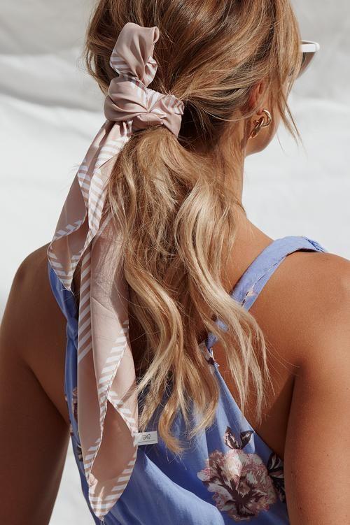 raya stripe scarf, blush, pink, stripes, satin, silk, head scarf, hair accessories, women's fashion, current trends