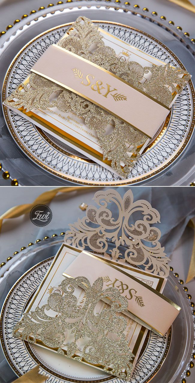 luxurious glitter champagne laser cut wedding invitations with printed belly band