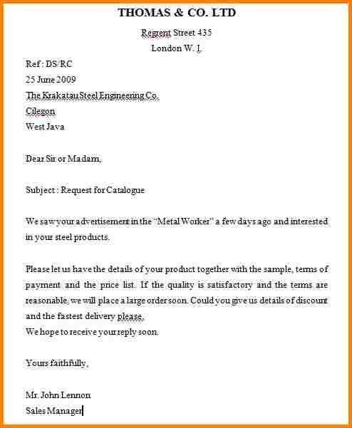 Sample Business Inquiry Letter Gallery Letter Examples Ideas
