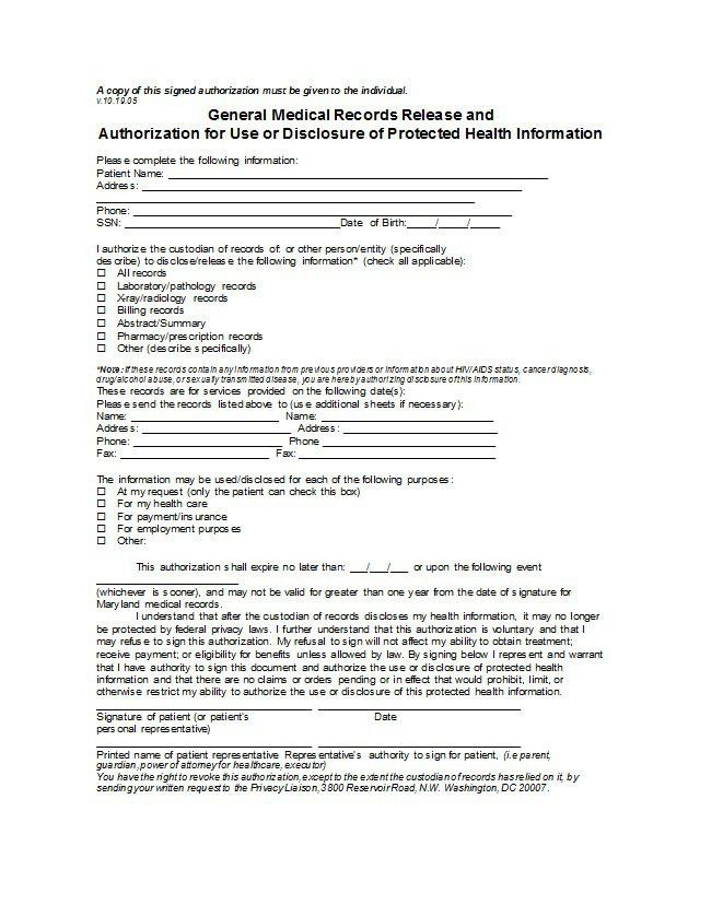 Medical Record Release Form Template Sample Medical Records - parent release form
