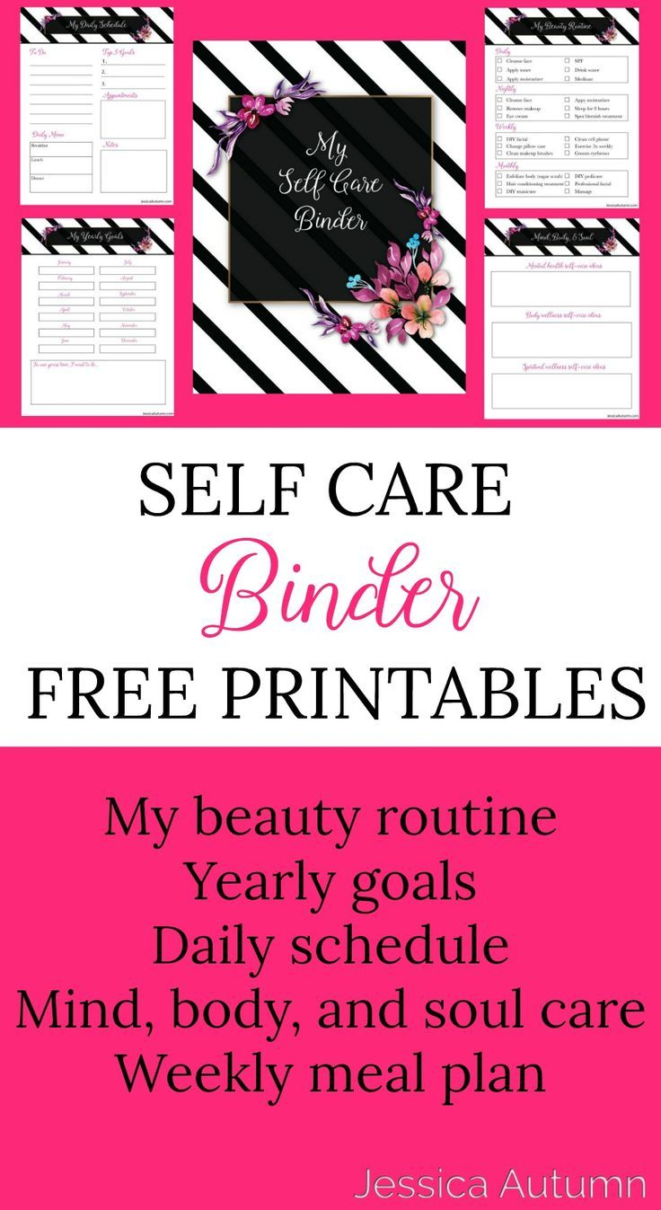 Self Care Binder Free Printables. Printables for your mental, physical, and spiritual self-care. Daily schedule, yearly goals, weekly meal plan. beauty routine, and mind body and soul self-care ideas. #freeprintables #selfcarebinder #beautybinder via @Jessica_Autumn_
