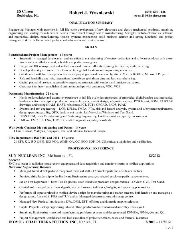 Engineering Manager Resume Examples - Examples of Resumes - biomedical engineering manager sample resume