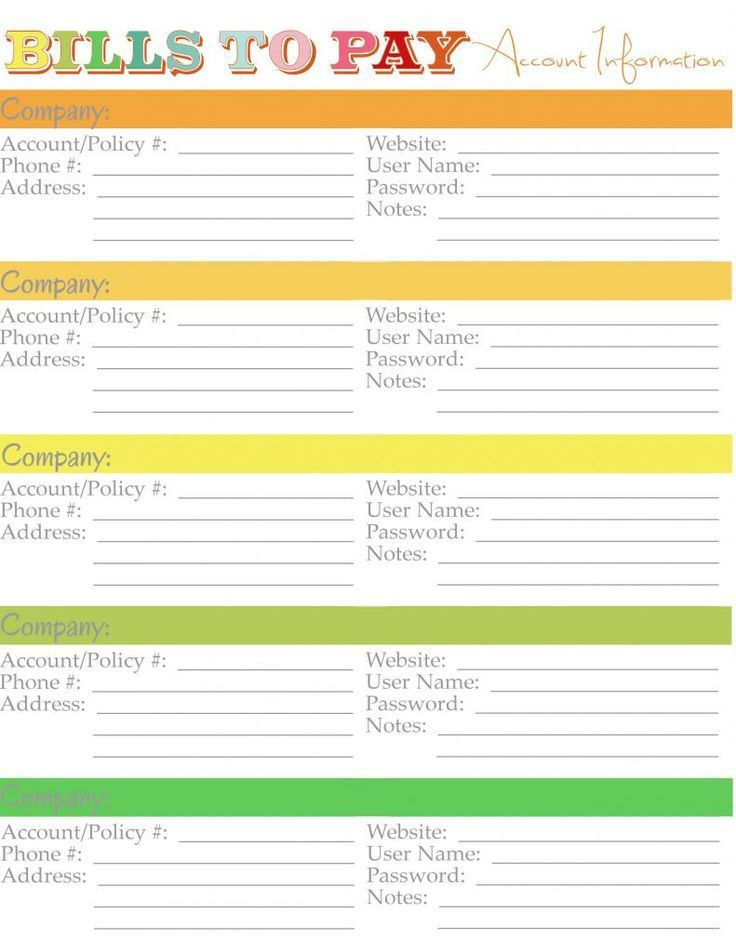 monthly bill pay template
